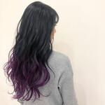 巻き髪 パープルカラー グラデーションカラー グラデーション