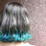 ボブ ターコイズブルー グラデーションカラー 裾カラー