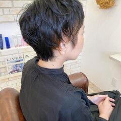 地毛風カラー 大人ショート ナチュラル インナーカラー ヘアスタイルや髪型の写真・画像