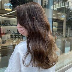 ロング ミルクティーベージュ ヨシンモリ 韓国風ヘアー ヘアスタイルや髪型の写真・画像