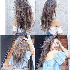 レイヤーロングヘア ナチュラル ビーチガール ロング ヘアスタイルや髪型の写真・画像