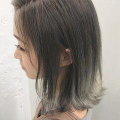シルバーアッシュ アッシュ ボブ ハイトーンカラー ヘアスタイルや髪型の写真・画像