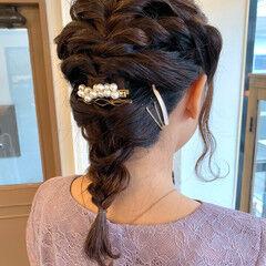 私とマスクとヘアアレンジ 簡単ヘアアレンジ ミディアム 結婚式ヘアアレンジ ヘアスタイルや髪型の写真・画像