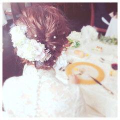 ヘアアレンジ 結婚式 ボブ パールアクセ ヘアスタイルや髪型の写真・画像