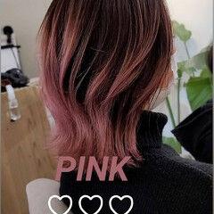 ボブ モード デザインカラー ペールピンク ヘアスタイルや髪型の写真・画像