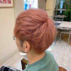 メンズヘア ピンク メンズカラー ペールピンク ヘアスタイルや髪型の写真・画像