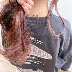 インナーカラー ナチュラル ピンクラベンダー ピンクアッシュ ヘアスタイルや髪型の写真・画像