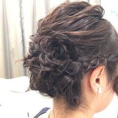 結婚式 ヘアアレンジ 花 ミディアム ヘアスタイルや髪型の写真・画像
