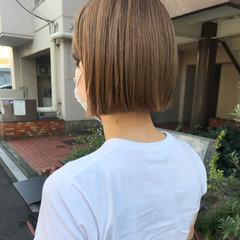 ショートボブ ベージュ ブリーチオンカラー ミニボブ ヘアスタイルや髪型の写真・画像