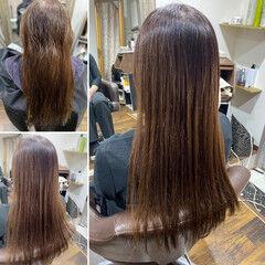 縮毛矯正 ロング ミルクティーグレージュ エレガント ヘアスタイルや髪型の写真・画像