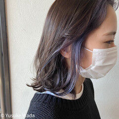 ボブ ストリート インナーラベンダー インナーカラー ヘアスタイルや髪型の写真・画像