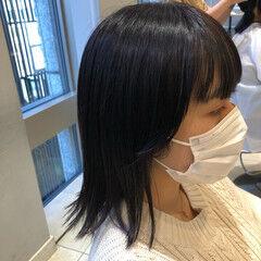 イルミナカラー デザインカラー ボブ インナーカラーパープル ヘアスタイルや髪型の写真・画像