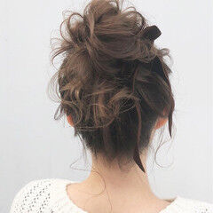 大人かわいい お団子 ミディアム デート ヘアスタイルや髪型の写真・画像