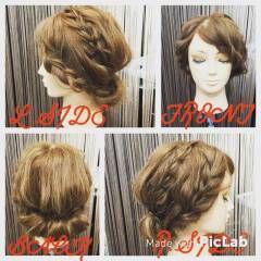 ストリート 簡単ヘアアレンジ 編み込み 波ウェーブ ヘアスタイルや髪型の写真・画像