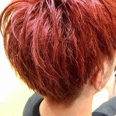ブラットオレンジ ショート カッパーピンク オレンジ ヘアスタイルや髪型の写真・画像