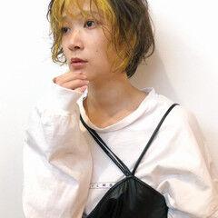 ストリート 小顔ショート ショート インナーカラー ヘアスタイルや髪型の写真・画像