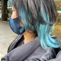 モード ブリーチカラー ショート インナーブルー ヘアスタイルや髪型の写真・画像