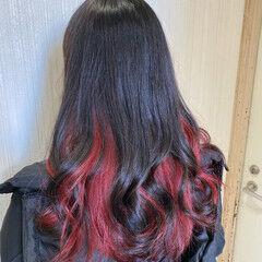 モード ダブルカラー カシスレッド インナーカラー ヘアスタイルや髪型の写真・画像