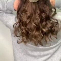 簡単ヘアアレンジ セミロング ナチュラル ヘアセット ヘアスタイルや髪型の写真・画像
