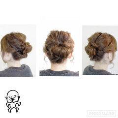 編み込み ねじり 波ウェーブ ヘアアレンジ ヘアスタイルや髪型の写真・画像