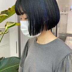 ネイビーブルー ナチュラル インナーブルー ミニボブ ヘアスタイルや髪型の写真・画像