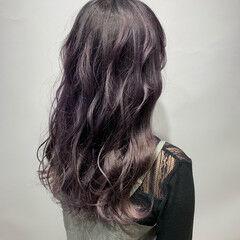ロング モード ラベンダーピンク ラベンダーアッシュ ヘアスタイルや髪型の写真・画像