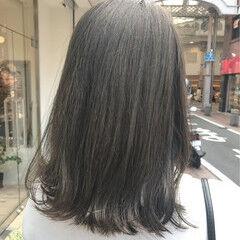 ナチュラル グレージュ 秋 ロブ ヘアスタイルや髪型の写真・画像