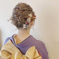 ドライフラワー 成人式 ガーリー ヘアセット ヘアスタイルや髪型の写真・画像