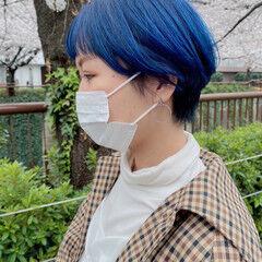 マッシュショート 前髪パッツン ストリート ショートボブ ヘアスタイルや髪型の写真・画像