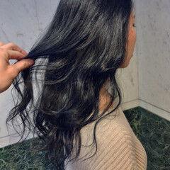 ブルーアッシュ ブルー ネイビー ミディアム ヘアスタイルや髪型の写真・画像