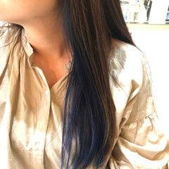 イヤリングカラー インナーカラー デザインカラー ストリート ヘアスタイルや髪型の写真・画像