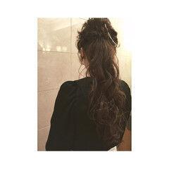 大人女子 ロング アッシュ ヘアアレンジ ヘアスタイルや髪型の写真・画像