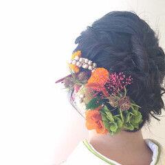 成人式 ドライフラワー フェミニン ミディアム ヘアスタイルや髪型の写真・画像