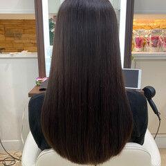 ブラウン 伸ばしかけ 切りっぱなし ブラウンベージュ ヘアスタイルや髪型の写真・画像