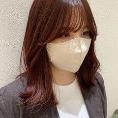 ミディアム レッドブラウン 韓国風ヘアー チェリーレッド ヘアスタイルや髪型の写真・画像