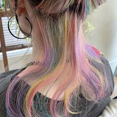 ハイライト ユニコーンカラー セミロング ブリーチカラー ヘアスタイルや髪型の写真・画像