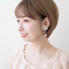 透明感カラー 丸顔 ショート ふんわり前髪 ヘアスタイルや髪型の写真・画像