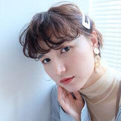 ゆるふわパーマ ショート ナチュラルデジパ 前髪パーマ ヘアスタイルや髪型の写真・画像
