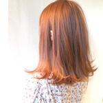 アプリコットオレンジ 透明感 デート ツヤ髪