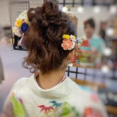 ヘアアレンジ 可愛い 成人式ヘア ふんわり ヘアスタイルや髪型の写真・画像