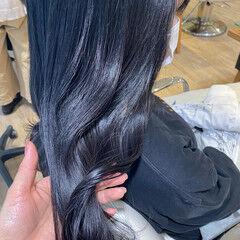 セミロング ナチュラル ネイビーブルー ブルーアッシュ ヘアスタイルや髪型の写真・画像