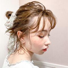 透明感 シースルーバング ミディアム ヘアアレンジ ヘアスタイルや髪型の写真・画像