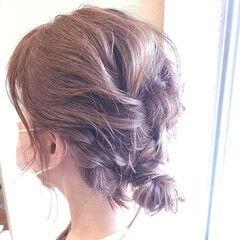 フェミニン 三つ編み ロープ編みアレンジヘア ミディアム ヘアスタイルや髪型の写真・画像