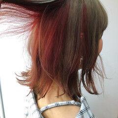 アプリコットオレンジ インナーカラー ナチュラル ミディアム ヘアスタイルや髪型の写真・画像