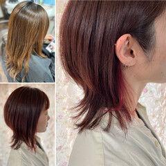 ウルフカット ブリーチオンカラー インナーカラー ヘアセット ヘアスタイルや髪型の写真・画像