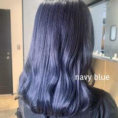 ネイビージュ ネイビーアッシュ ネイビーブルー セミロング ヘアスタイルや髪型の写真・画像
