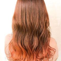 オレンジブラウン オレンジベージュ 裾カラーオレンジ オレンジカラー ヘアスタイルや髪型の写真・画像