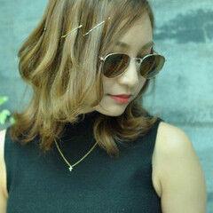 ミディアム ショート ヘアアレンジ ハイライト ヘアスタイルや髪型の写真・画像