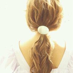 ローポニーテール ポニーテール ヘアアレンジ 簡単ヘアアレンジ ヘアスタイルや髪型の写真・画像