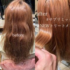 アッシュグレージュ ストレート ダブルカラー セミロング ヘアスタイルや髪型の写真・画像